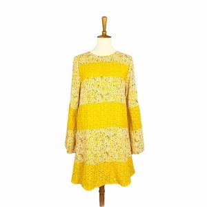 NWT Love Riche Yellow Floral Bell Sleeve Dress